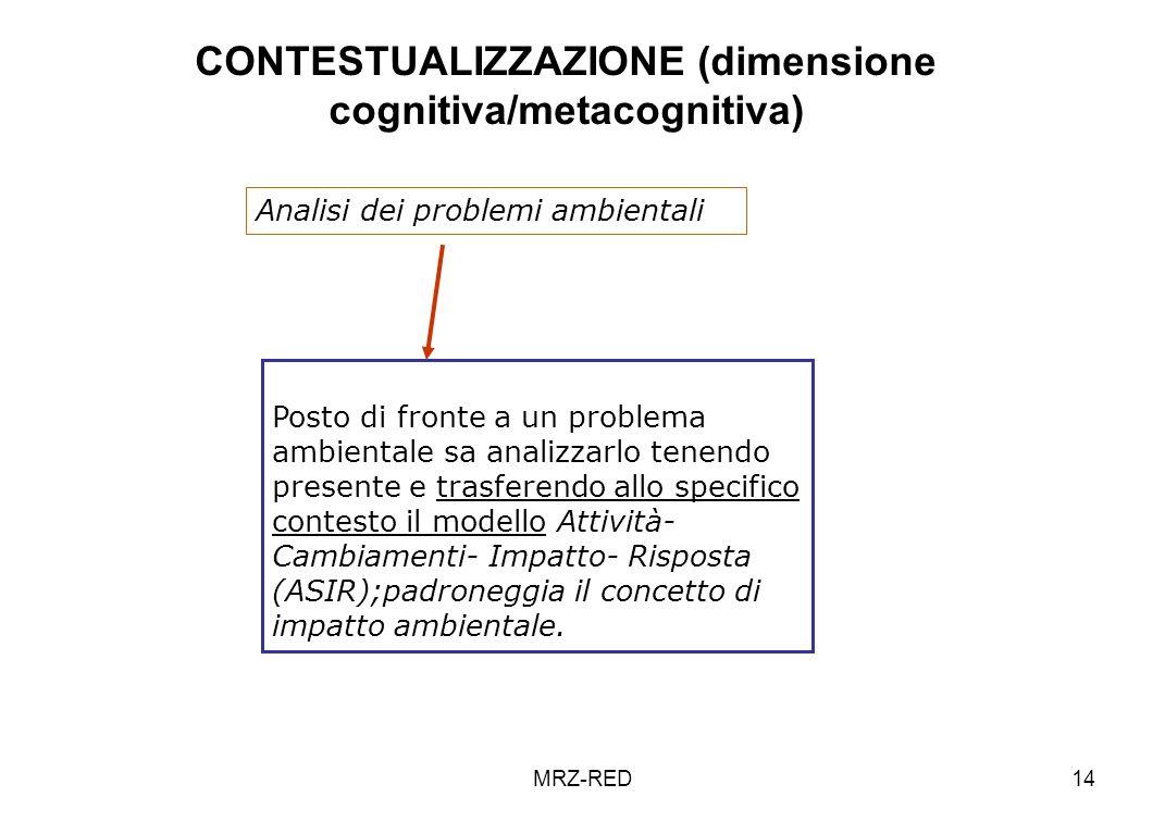MRZ-RED14 CONTESTUALIZZAZIONE (dimensione cognitiva/metacognitiva) Posto di fronte a un problema ambientale sa analizzarlo tenendo presente e trasfere