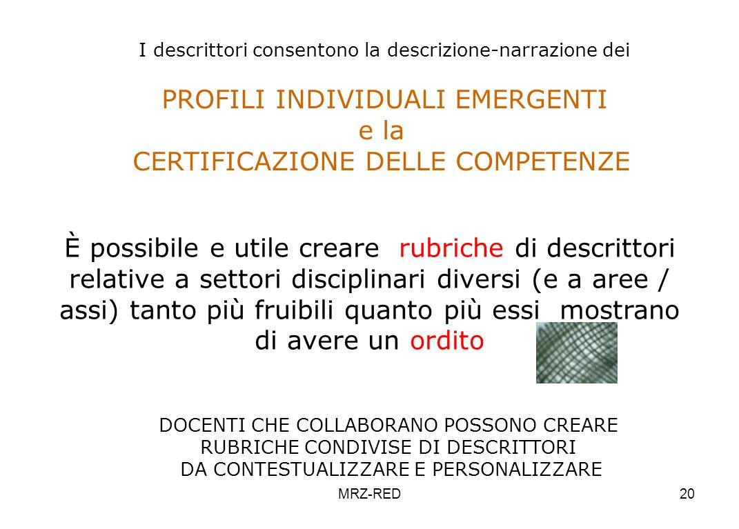 MRZ-RED20 I descrittori consentono la descrizione-narrazione dei PROFILI INDIVIDUALI EMERGENTI e la CERTIFICAZIONE DELLE COMPETENZE È possibile e util