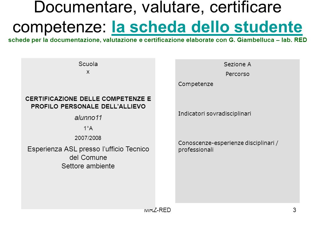 MRZ-RED3 Documentare, valutare, certificare competenze: la scheda dello studente schede per la documentazione, valutazione e certificazione elaborate