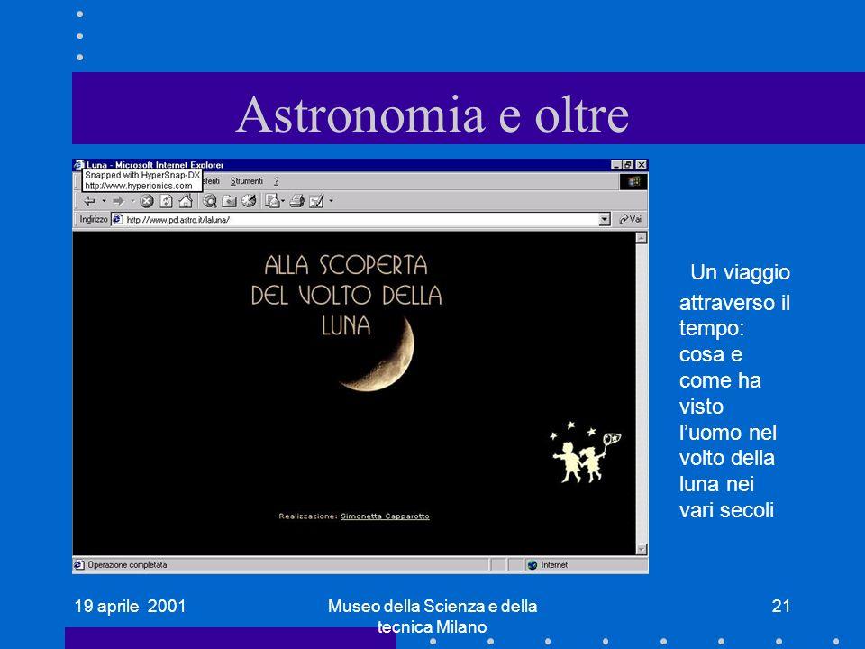 19 aprile 2001Museo della Scienza e della tecnica Milano 21 Astronomia e oltre Un viaggio attraverso il tempo: cosa e come ha visto luomo nel volto della luna nei vari secoli
