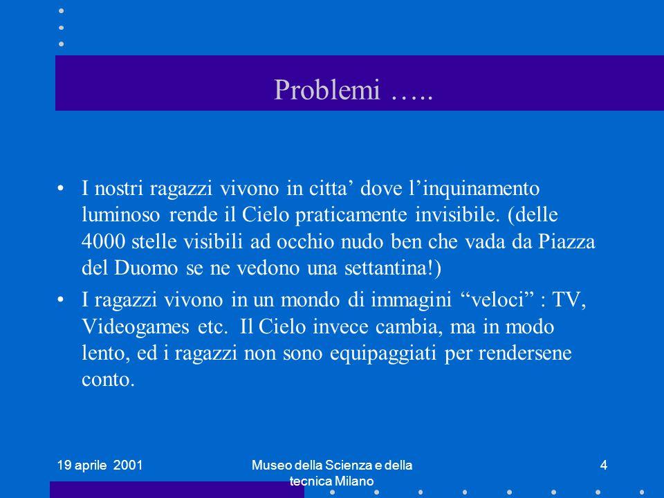 19 aprile 2001Museo della Scienza e della tecnica Milano 4 Problemi ….. I nostri ragazzi vivono in citta dove linquinamento luminoso rende il Cielo pr