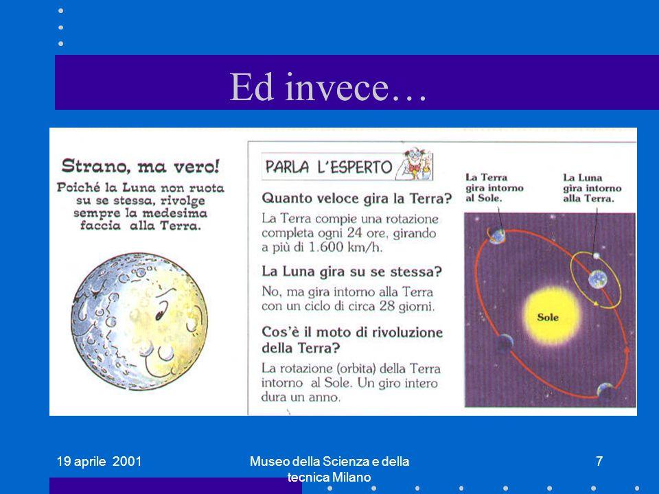 19 aprile 2001Museo della Scienza e della tecnica Milano 7 Ed invece…