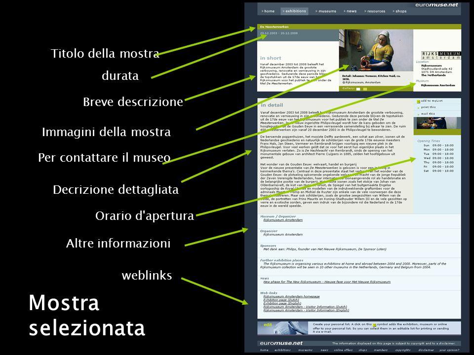 Mostra selezionata Breve descrizione Decrizione dettagliata Altre informazioni weblinks Orario d apertura Immagini della mostra Per contattare il museo Titolo della mostra durata