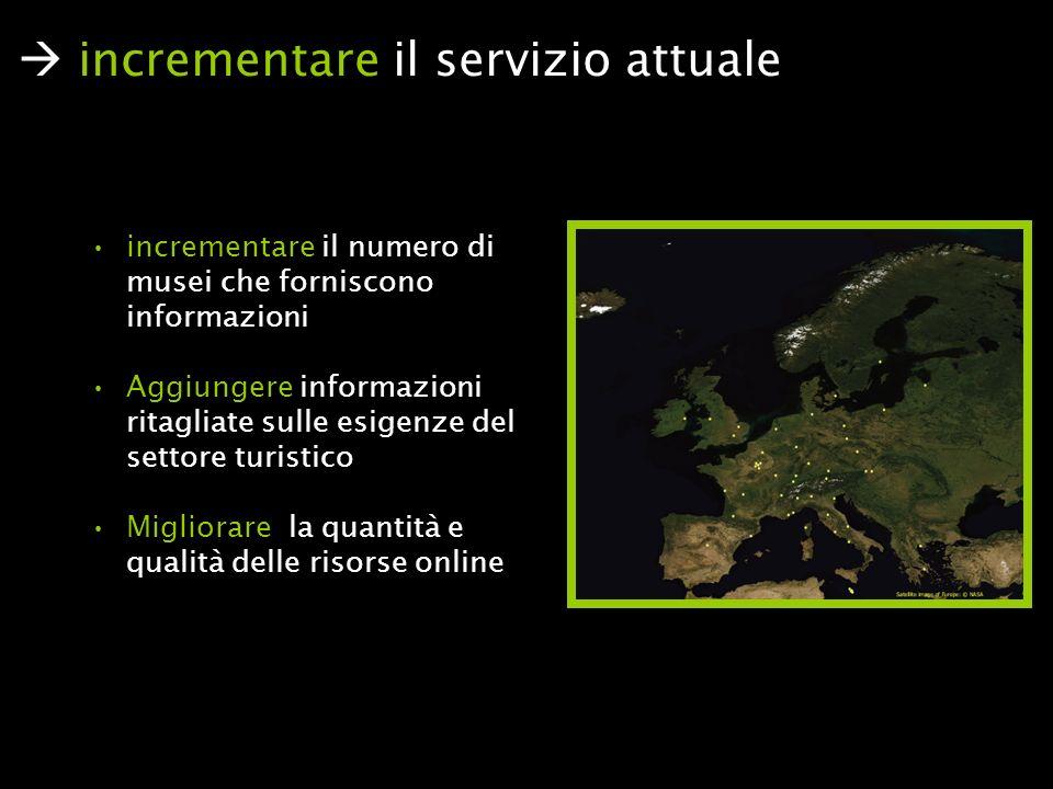 incrementare il numero di musei che forniscono informazioni Aggiungere informazioni ritagliate sulle esigenze del settore turistico Migliorare la quantità e qualità delle risorse online incrementare il servizio attuale