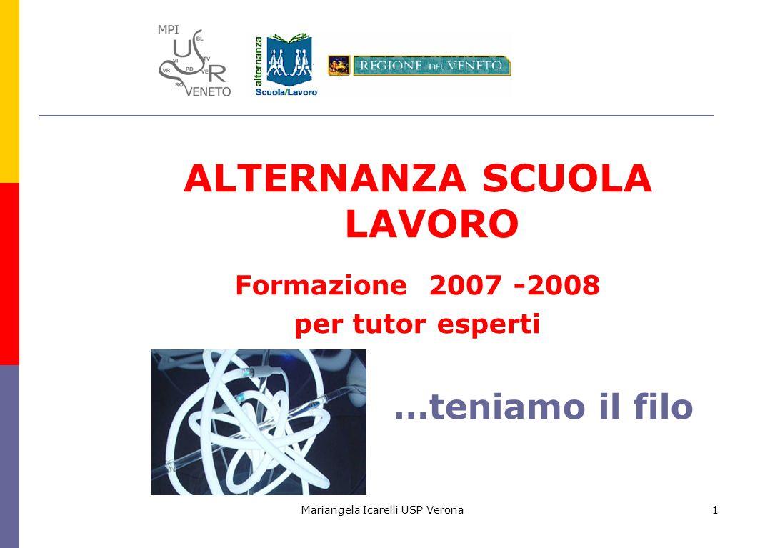 Mariangela Icarelli USP Verona1 ALTERNANZA SCUOLA LAVORO Formazione 2007 -2008 per tutor esperti …teniamo il filo