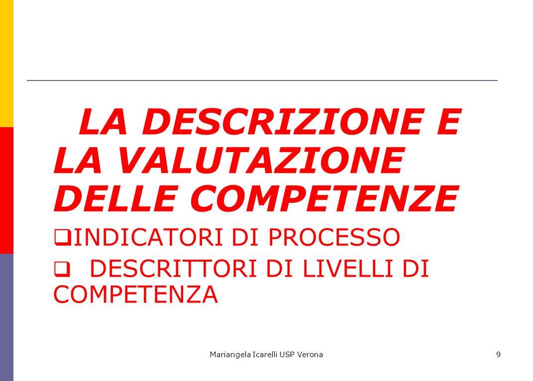 Mariangela Icarelli USP Verona10 Come descrivere le competenze attese.