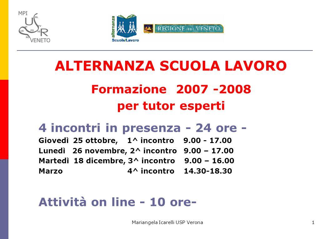 Mariangela Icarelli USP Verona1 ALTERNANZA SCUOLA LAVORO Formazione 2007 -2008 per tutor esperti 4 incontri in presenza - 24 ore - Giovedì 25 ottobre,