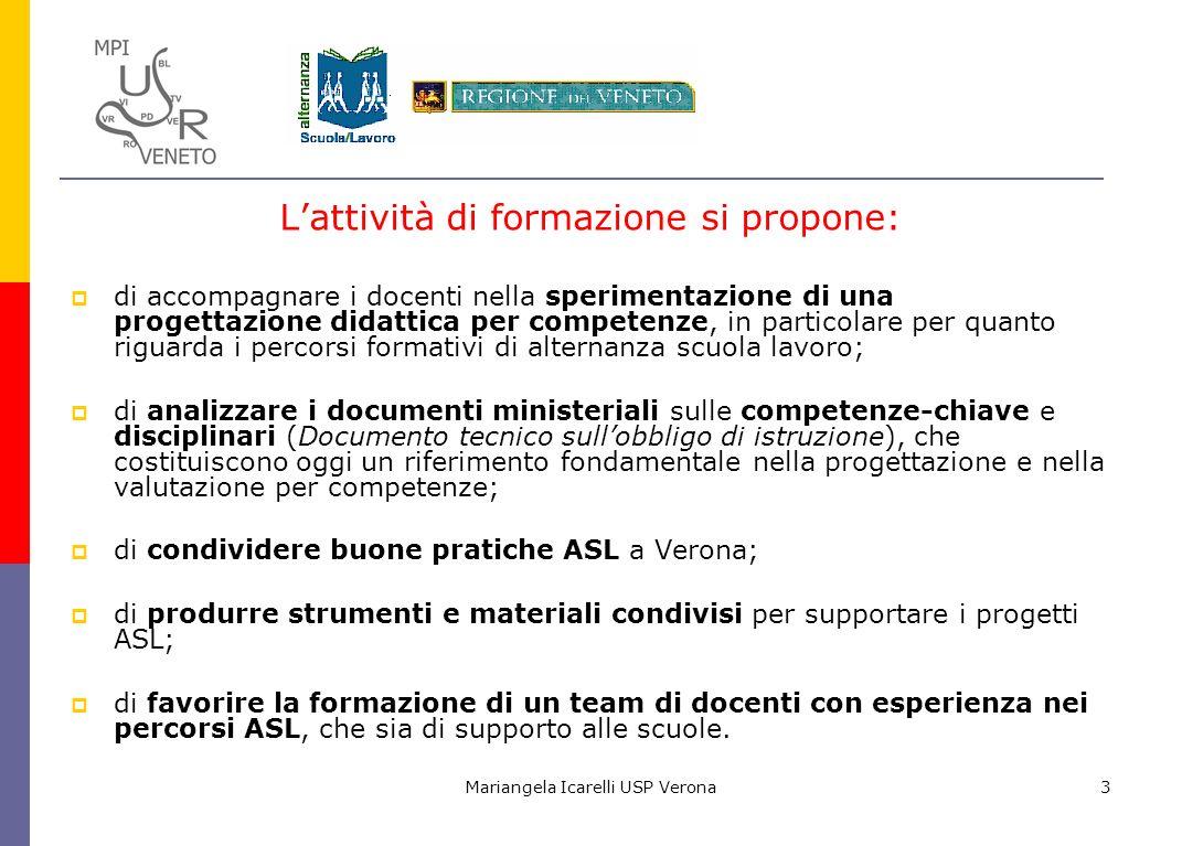 Mariangela Icarelli USP Verona3 Lattività di formazione si propone: di accompagnare i docenti nella sperimentazione di una progettazione didattica per