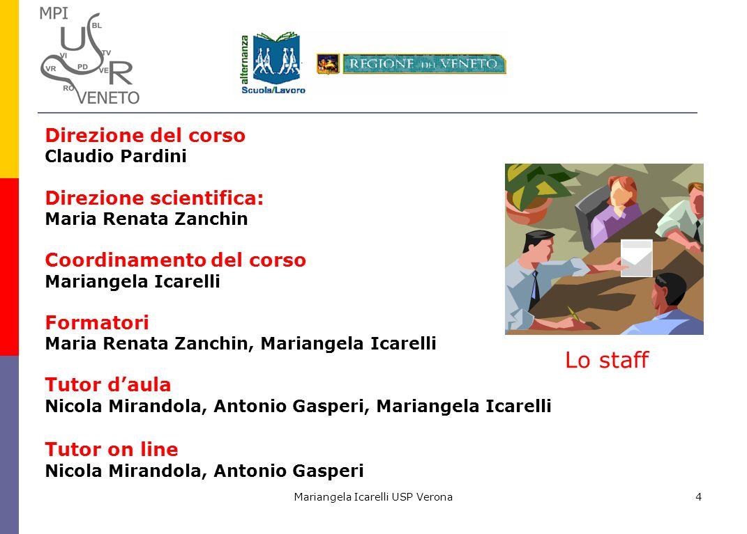 Mariangela Icarelli USP Verona4 Direzione del corso Claudio Pardini Direzione scientifica: Maria Renata Zanchin Coordinamento del corso Mariangela Ica