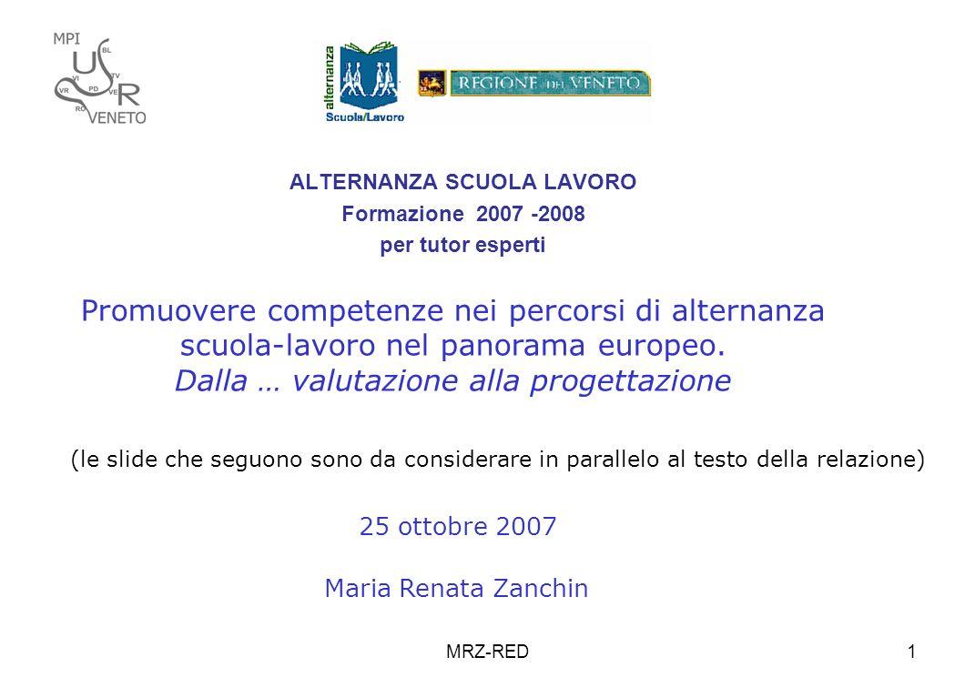 MRZ-RED1 ALTERNANZA SCUOLA LAVORO Formazione 2007 -2008 per tutor esperti Promuovere competenze nei percorsi di alternanza scuola-lavoro nel panorama