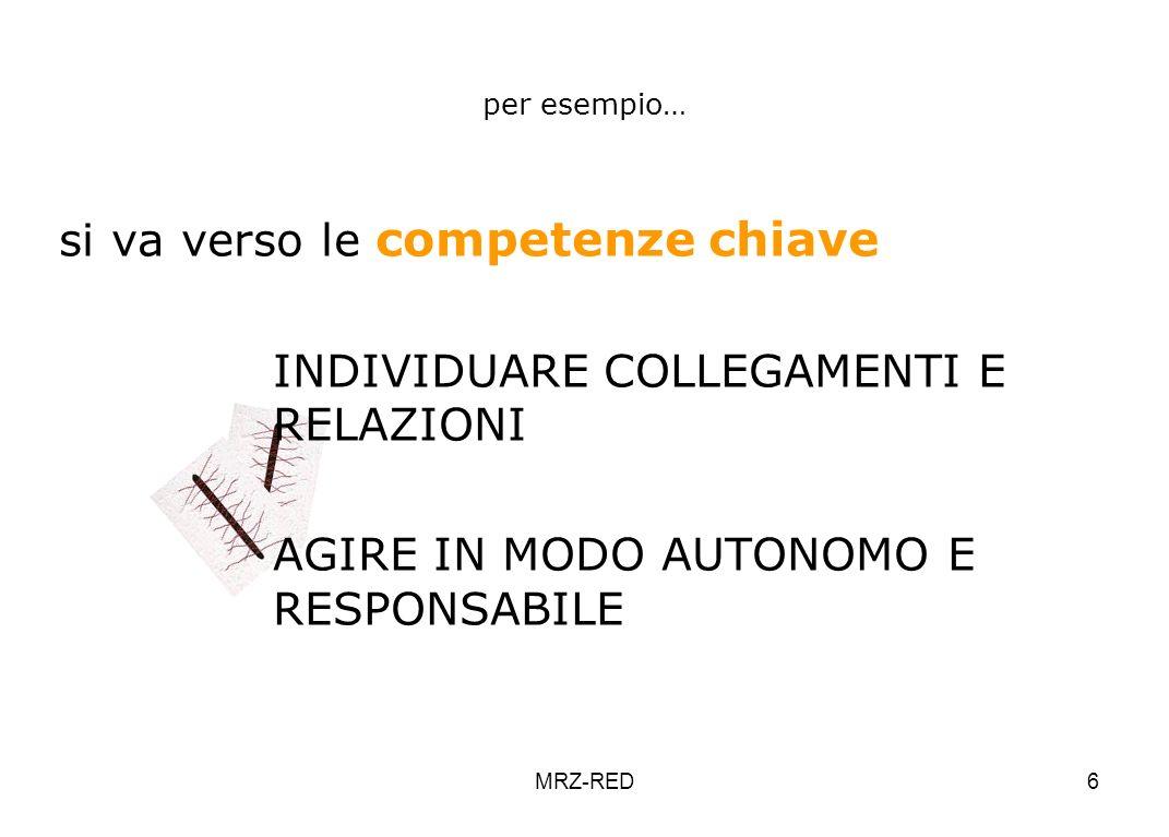 MRZ-RED6 per esempio… si va verso le competenze chiave INDIVIDUARE COLLEGAMENTI E RELAZIONI AGIRE IN MODO AUTONOMO E RESPONSABILE