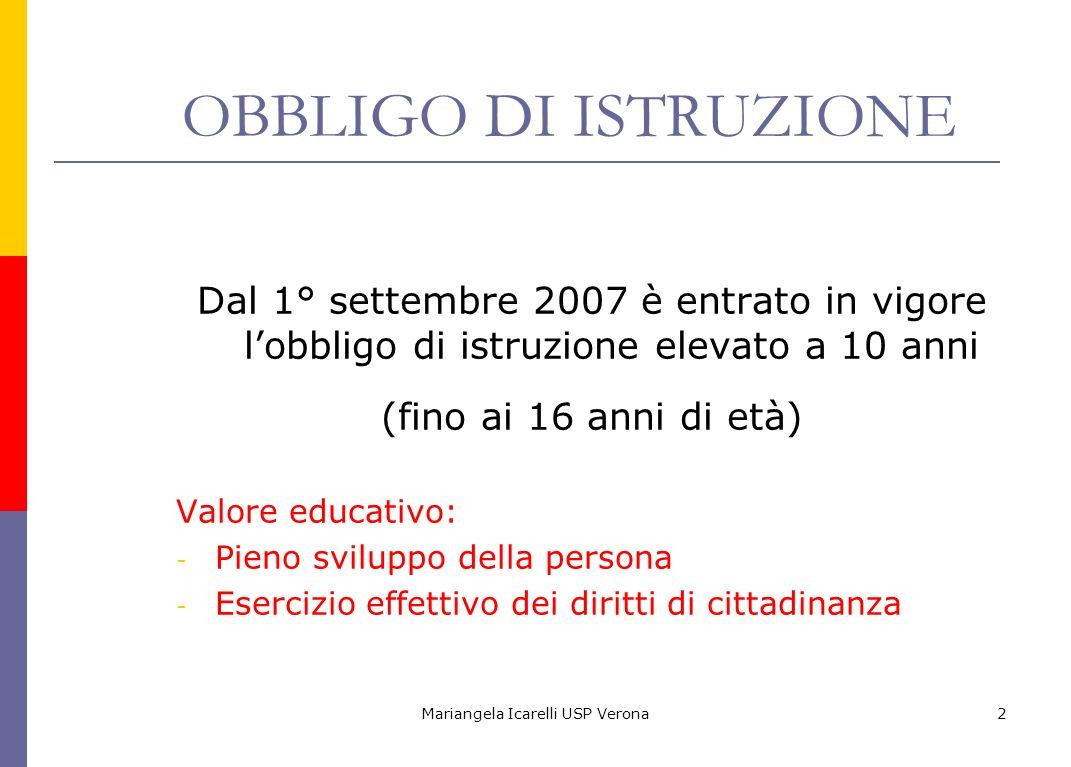 Mariangela Icarelli USP Verona2 OBBLIGO DI ISTRUZIONE Dal 1° settembre 2007 è entrato in vigore lobbligo di istruzione elevato a 10 anni (fino ai 16 a