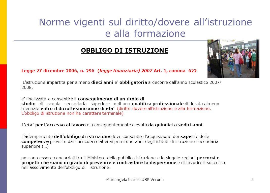 Mariangela Icarelli USP Verona5 Norme vigenti sul diritto/dovere allistruzione e alla formazione OBBLIGO DI ISTRUZIONE Legge 27 dicembre 2006, n. 296