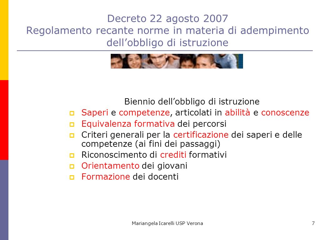 Mariangela Icarelli USP Verona7 Decreto 22 agosto 2007 Regolamento recante norme in materia di adempimento dellobbligo di istruzione Biennio dellobbli