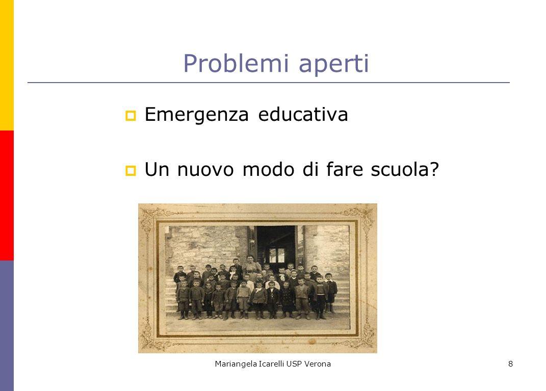 Mariangela Icarelli USP Verona8 Problemi aperti Emergenza educativa Un nuovo modo di fare scuola?