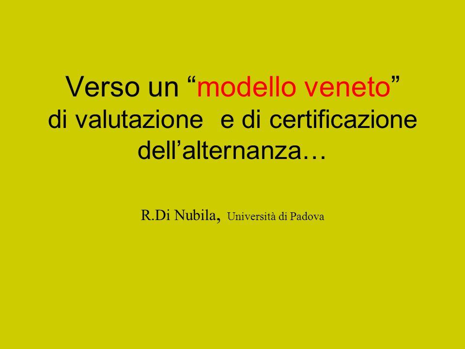 Verso un modello veneto di valutazione e di certificazione dellalternanza… R.Di Nubila, Università di Padova