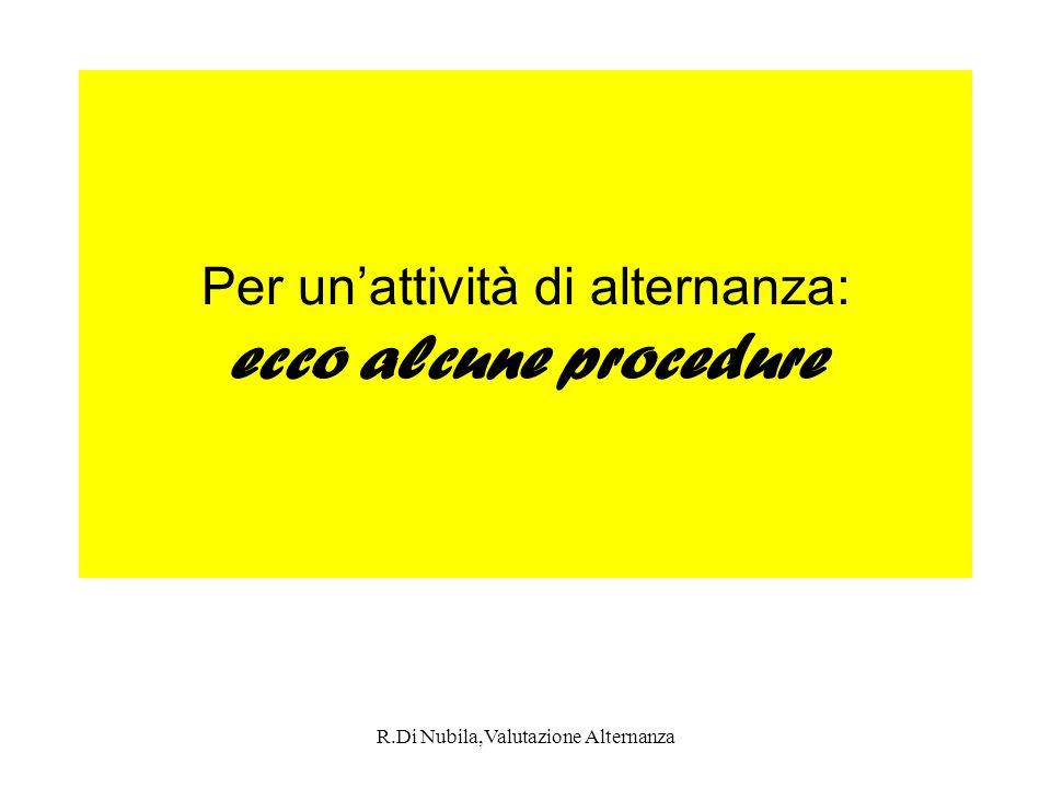 R.Di Nubila,Valutazione Alternanza Per unattività di alternanza: ecco alcune procedure