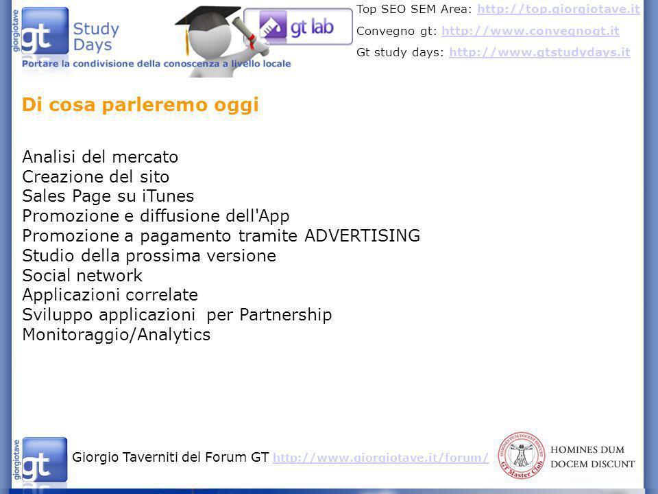 Giorgio Taverniti del Forum GT http://www.giorgiotave.it/forum/ http://www.giorgiotave.it/forum/ Top SEO SEM Area: http://top.giorgiotave.ithttp://top.giorgiotave.it Convegno gt: http://www.convegnogt.ithttp://www.convegnogt.it Gt study days: http://www.gtstudydays.ithttp://www.gtstudydays.it Risorse Android http://android.giorgiotave.ithttp://android.giorgiotave.it (le risorse sono segnalate da Andrea Cardinale) http://androidapptracker.com/ http://www.appdata.com/ http://www.businessinsider.com/did-android-market-change-its-ranking- algorithm-2011-4 http://www.insidesocialgames.com/2009/10/27/the-sticky-factor- creating-a-benchmark-for-social-gaming-success/