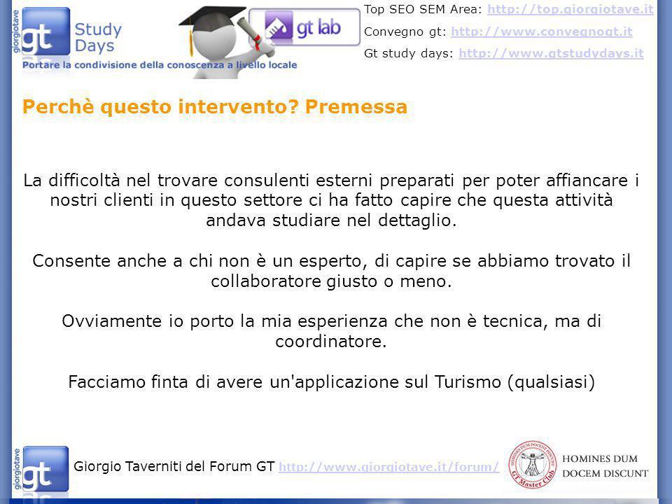 Giorgio Taverniti del Forum GT http://www.giorgiotave.it/forum/ http://www.giorgiotave.it/forum/ Top SEO SEM Area: http://top.giorgiotave.ithttp://top.giorgiotave.it Convegno gt: http://www.convegnogt.ithttp://www.convegnogt.it Gt study days: http://www.gtstudydays.ithttp://www.gtstudydays.it Ricerca delle chiavi, come gli utenti si approciano alle applicazioni turistiche.