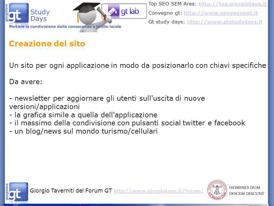 Giorgio Taverniti del Forum GT http://www.giorgiotave.it/forum/ http://www.giorgiotave.it/forum/ Top SEO SEM Area: http://top.giorgiotave.ithttp://top.giorgiotave.it Convegno gt: http://www.convegnogt.ithttp://www.convegnogt.it Gt study days: http://www.gtstudydays.ithttp://www.gtstudydays.it Parametri importanti e fondamentali nel SEO dell App Store: - gli aggiornamenti delle applicazioni.
