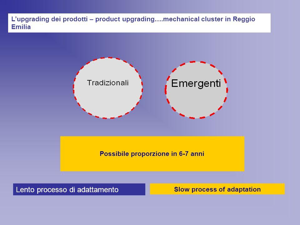 Lupgrading dei prodotti – product upgrading….mechanical cluster in Reggio Emilia 73% 27% Attuale proporzione in una industria hi tech dellEmilia Romagna Possibile proporzione in 6-7 anni Slow process of adaptation Lento processo di adattamento