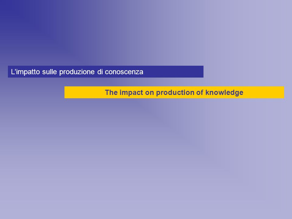 Limpatto sulle produzione di conoscenza The impact on production of knowledge