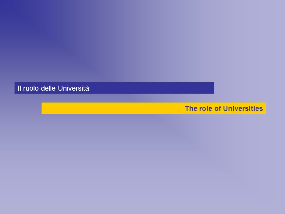 The role of Universities Il ruolo delle Università