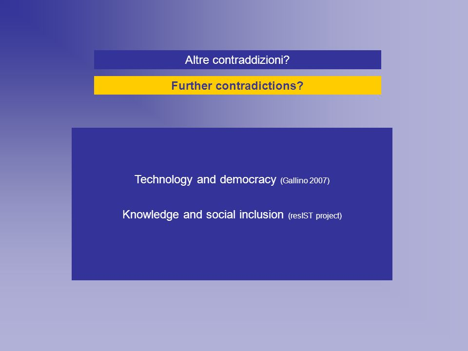 Technology and democracy (Gallino 2007) Knowledge and social inclusion (resIST project) Altre contraddizioni.