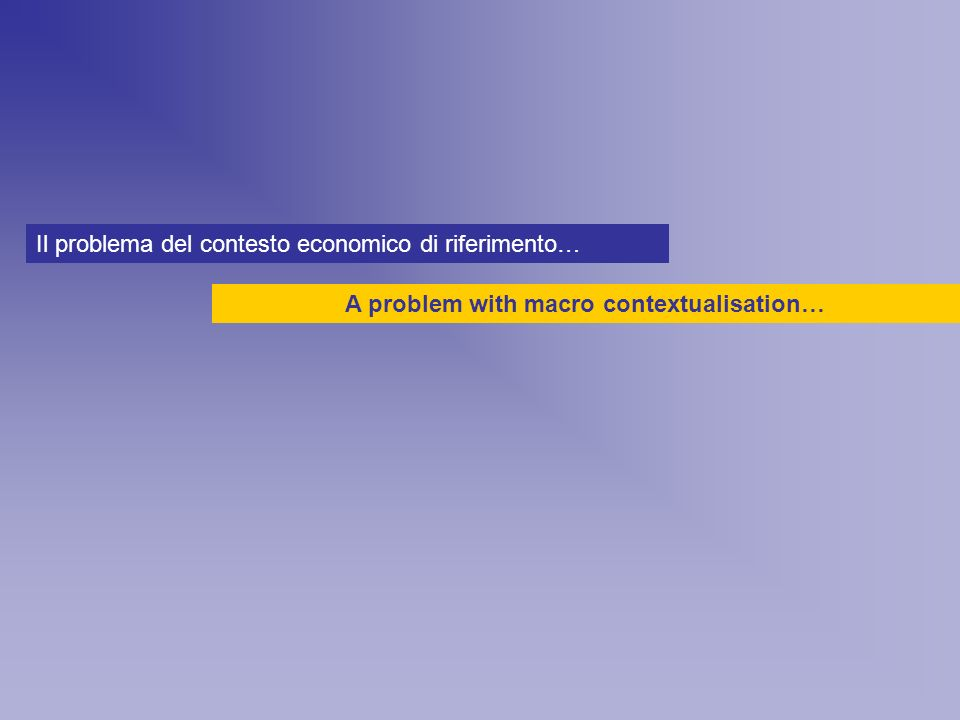 A problem with macro contextualisation… Il problema del contesto economico di riferimento…