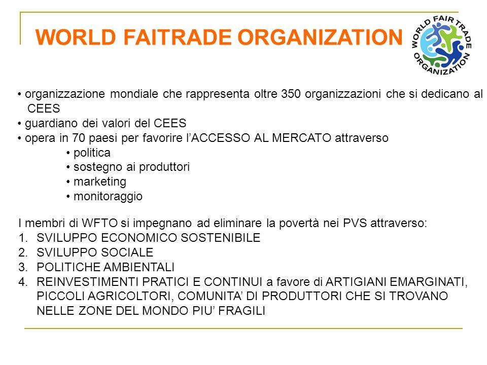 FAIRTRADE LABELLING ORGANIZATION ORGANIZZAZIONE CON FUNZIONE DI CONTROLLO: sottopone a verifica i PRODUTTORI, IMPORTATORI, AZIENDE TRASFORMATRICI, garantendo che i prodotti dotati del marchio FairTrade siano conformi agli standard del CES.
