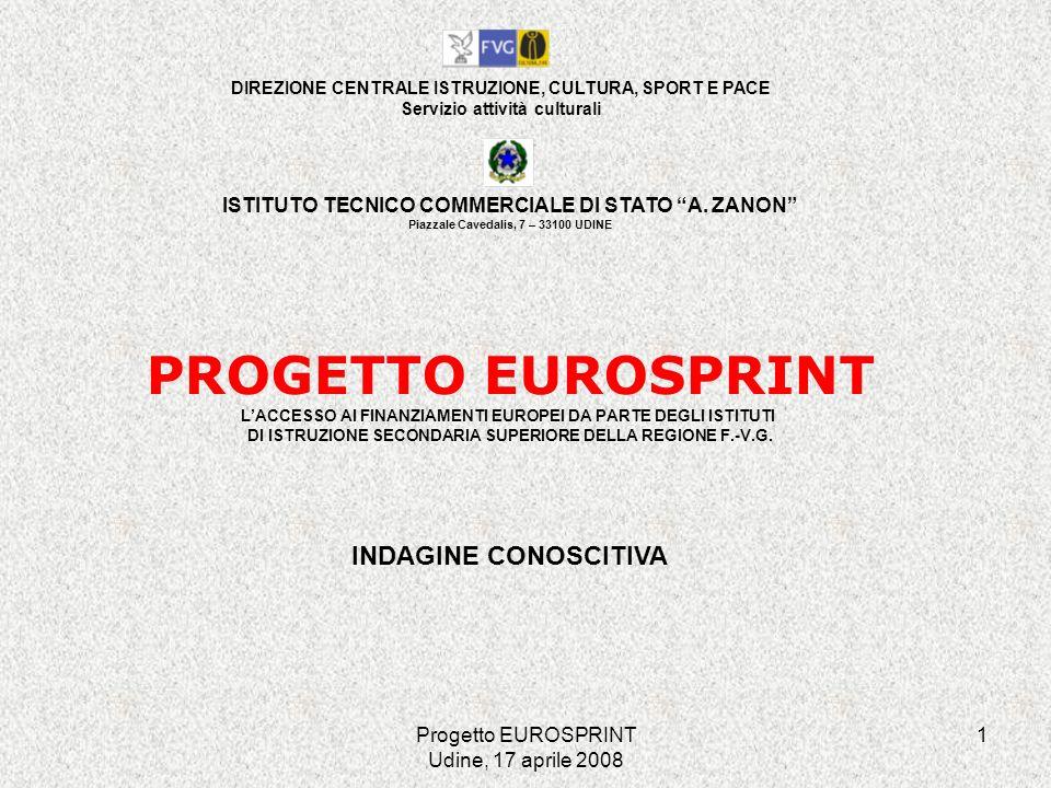 Progetto EUROSPRINT Udine, 17 aprile 2008 22 AUTOVALUTAZIONE DELLA DISPONIBILITÀ DI RISORSE/COMPETENZE INTERNE RELATIVE AD UNA SERIE DI AMBITI ambiti / valutazione disponibilità compet.
