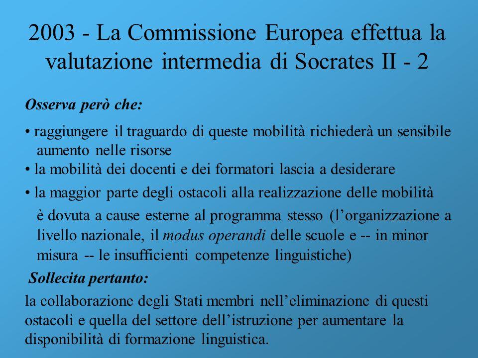 2003 - La Commissione Europea effettua la valutazione intermedia di Socrates II - 2 Osserva però che: raggiungere il traguardo di queste mobilità rich