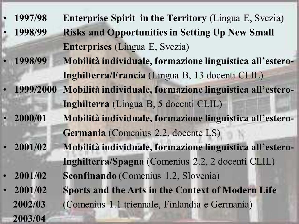 1997/98Enterprise Spirit in the Territory (Lingua E, Svezia) 1998/99Risks and Opportunities in Setting Up New Small Enterprises (Lingua E, Svezia) 199