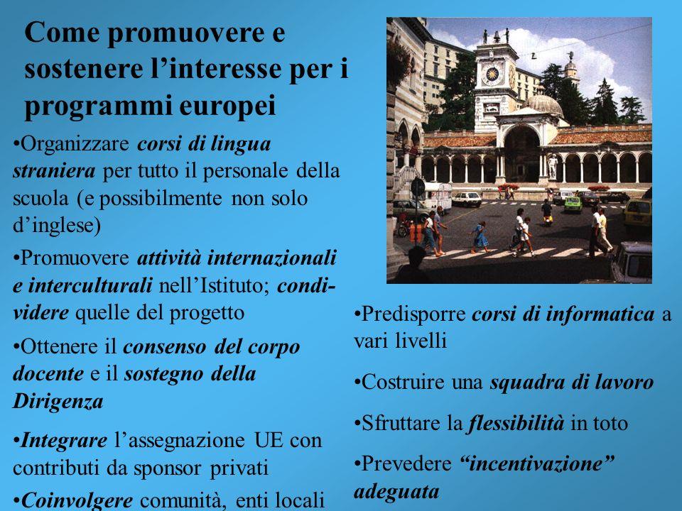 Come promuovere e sostenere linteresse per i programmi europei Organizzare corsi di lingua straniera per tutto il personale della scuola (e possibilme