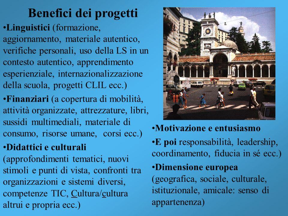 Benefici dei progetti Linguistici (formazione, aggiornamento, materiale autentico, verifiche personali, uso della LS in un contesto autentico, apprend