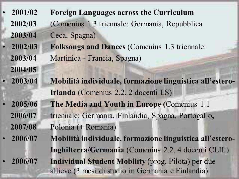 2001/02Foreign Languages across the Curriculum 2002/03(Comenius 1.3 triennale: Germania, Repubblica 2003/04 Ceca, Spagna) 2002/03Folksongs and Dances