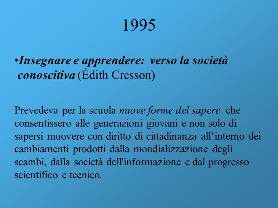1995 Insegnare e apprendere: verso la società conoscitiva (Édith Cresson) Prevedeva per la scuola nuove forme del sapere che consentissero alle genera
