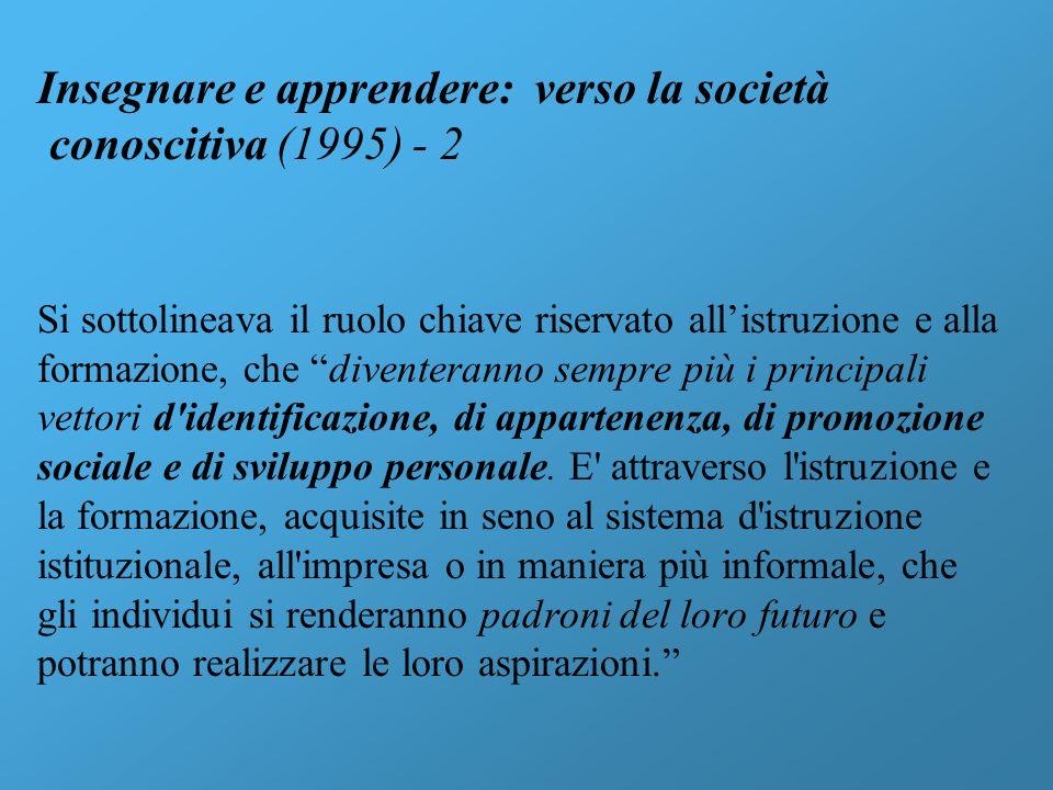Insegnare e apprendere: verso la società conoscitiva (1995) - 2 Si sottolineava il ruolo chiave riservato allistruzione e alla formazione, che divente