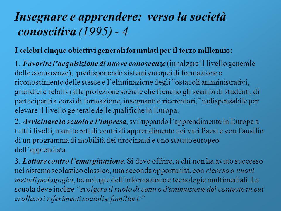 Insegnare e apprendere: verso la società conoscitiva (1995) - 4 I celebri cinque obiettivi generali formulati per il terzo millennio: 1. Favorire lacq