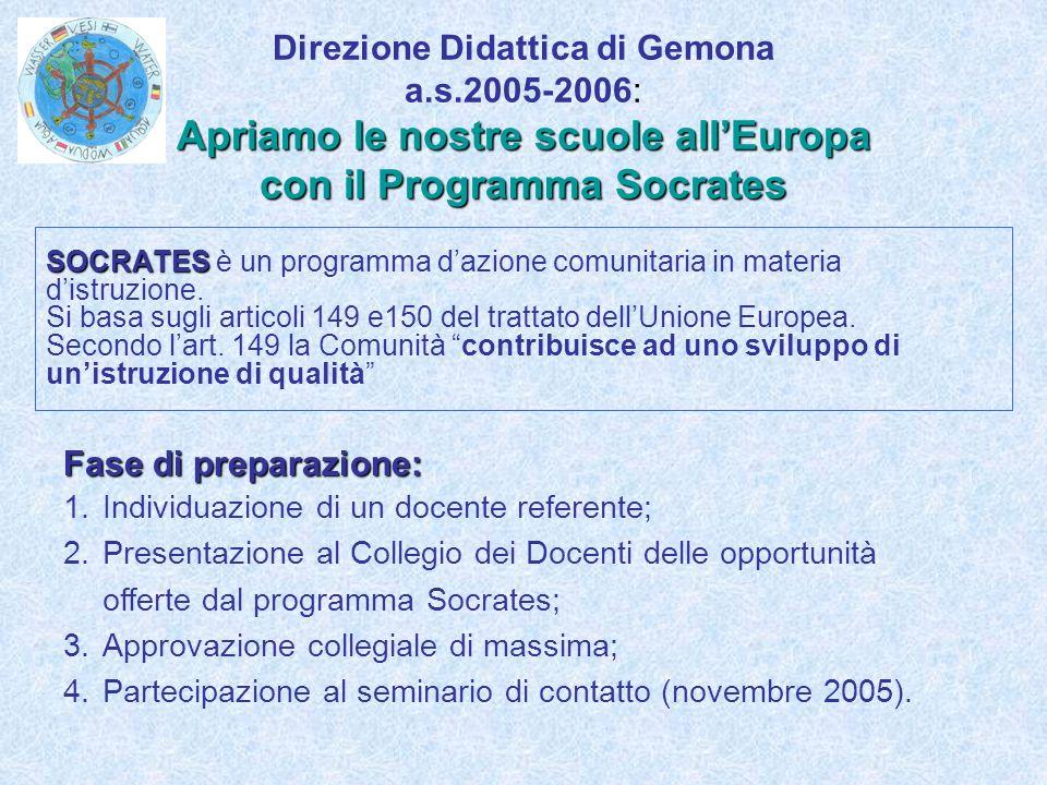 Apriamo le nostre scuole allEuropa con il Programma Socrates Direzione Didattica di Gemona a.s.2005-2006: Apriamo le nostre scuole allEuropa con il Programma Socrates SOCRATES SOCRATES è un programma dazione comunitaria in materia distruzione.