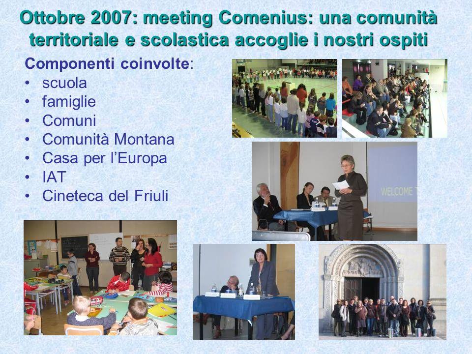 Componenti coinvolte: scuola famiglie Comuni Comunità Montana Casa per lEuropa IAT Cineteca del Friuli Ottobre 2007: meeting Comenius: una comunità territoriale e scolastica accoglie i nostri ospiti