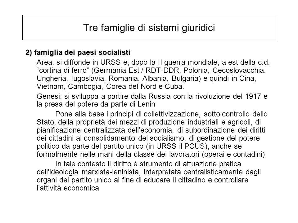 Tre famiglie di sistemi giuridici 2) famiglia dei paesi socialisti Area: si diffonde in URSS e, dopo la II guerra mondiale, a est della c.d. cortina d