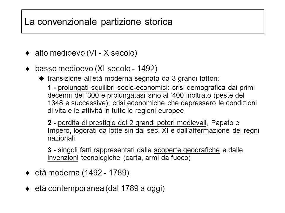 La convenzionale partizione storica alto medioevo (VI - X secolo) basso medioevo (XI secolo - 1492) transizione alletà moderna segnata da 3 grandi fat