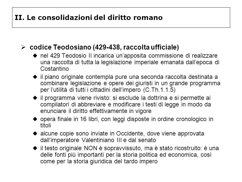 II. Le consolidazioni del diritto romano codice Teodosiano (429-438, raccolta ufficiale) nel 429 Teodosio II incarica unapposita commissione di realiz