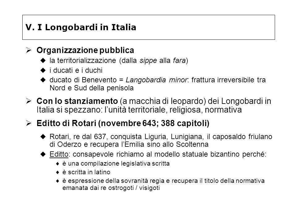V. I Longobardi in Italia Organizzazione pubblica la territorializzazione (dalla sippe alla fara) i ducati e i duchi ducato di Benevento = Langobardia