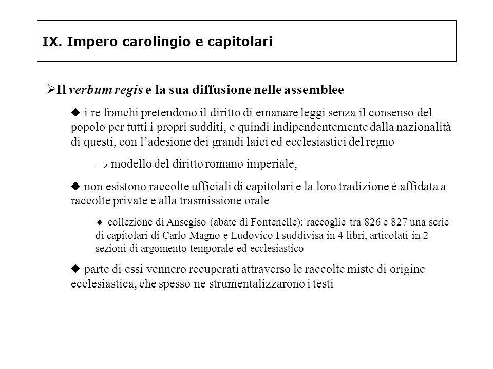 IX. Impero carolingio e capitolari Il verbum regis e la sua diffusione nelle assemblee i re franchi pretendono il diritto di emanare leggi senza il co
