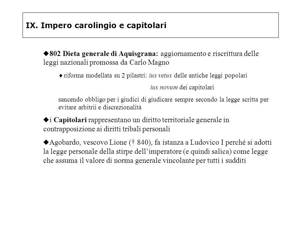 IX. Impero carolingio e capitolari 802 Dieta generale di Aquisgrana: aggiornamento e riscrittura delle leggi nazionali promossa da Carlo Magno riforma