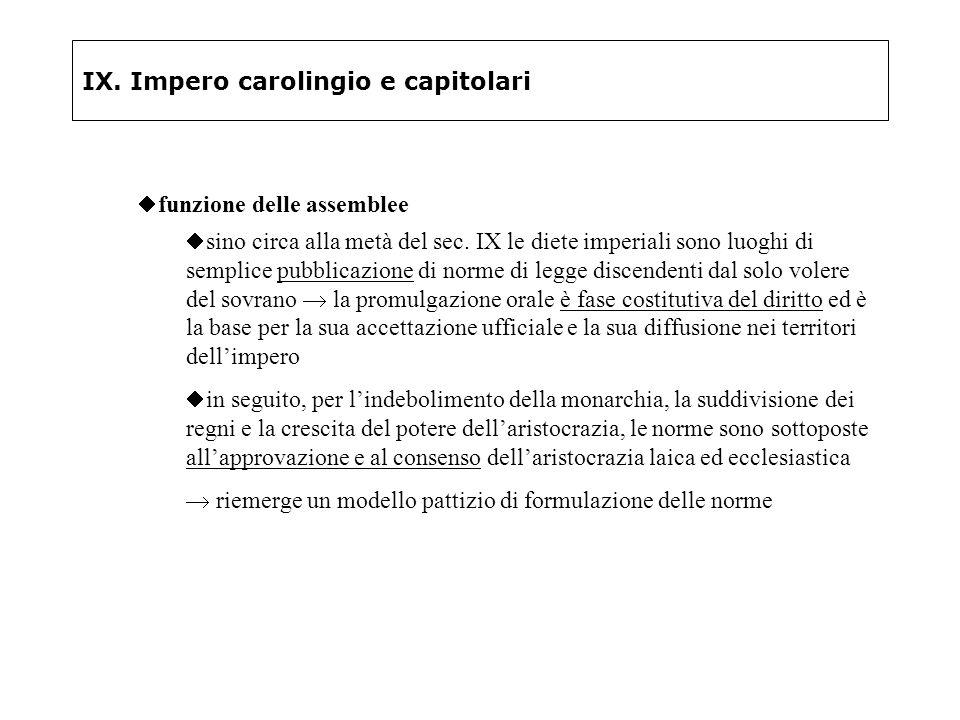 IX. Impero carolingio e capitolari funzione delle assemblee sino circa alla metà del sec. IX le diete imperiali sono luoghi di semplice pubblicazione