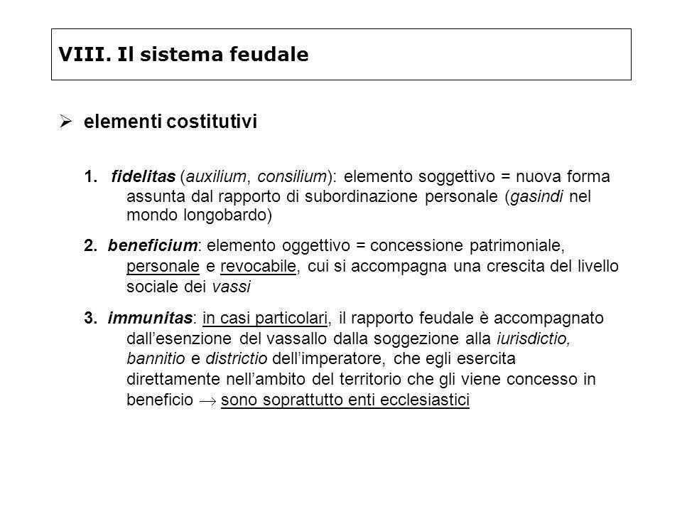 VIII. Il sistema feudale elementi costitutivi 1. fidelitas (auxilium, consilium): elemento soggettivo = nuova forma assunta dal rapporto di subordinaz