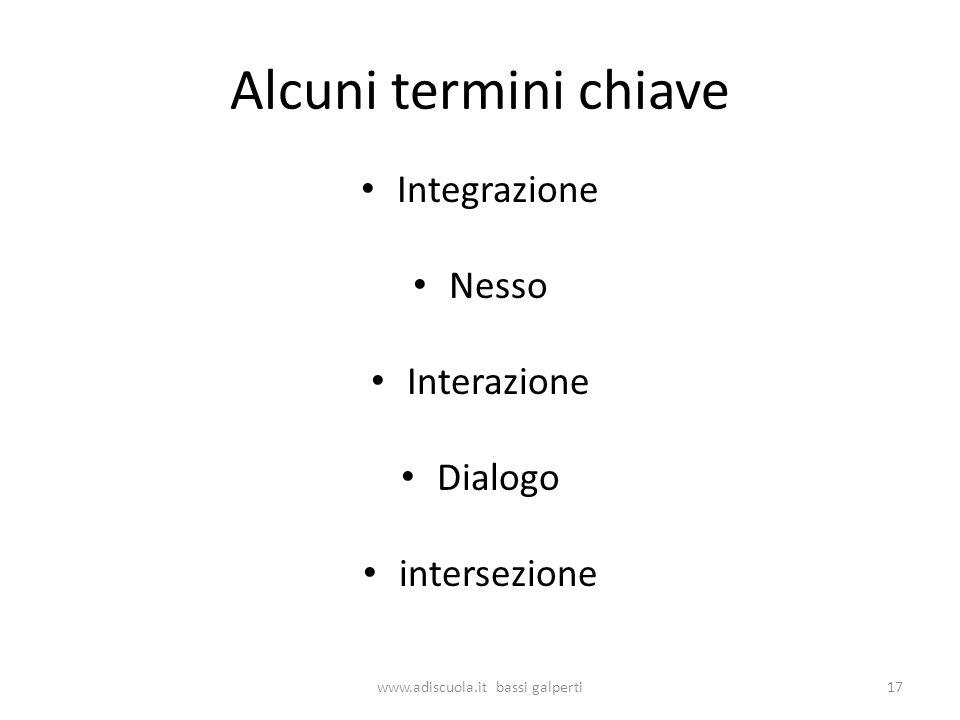Alcuni termini chiave Integrazione Nesso Interazione Dialogo intersezione 17www.adiscuola.it bassi galperti